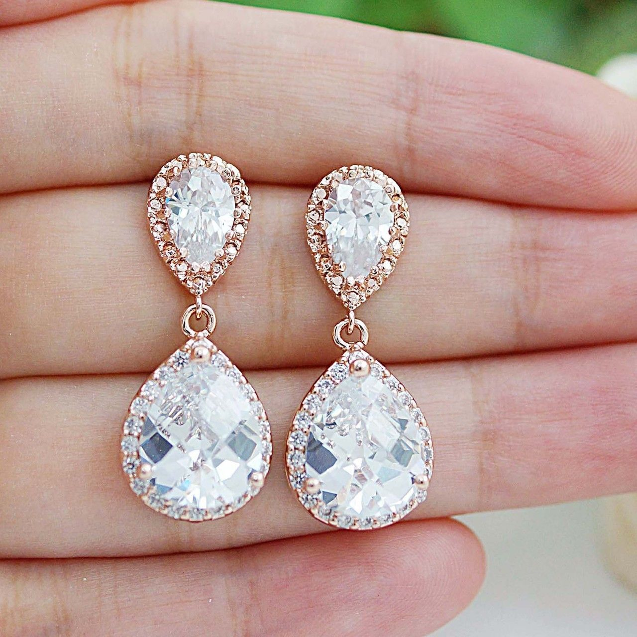 Lux Rose Gold Clear White Cubic Zirconia Crystal Tear Drop Wedding Earrings Joias Do Casamento Acessorios Brincos