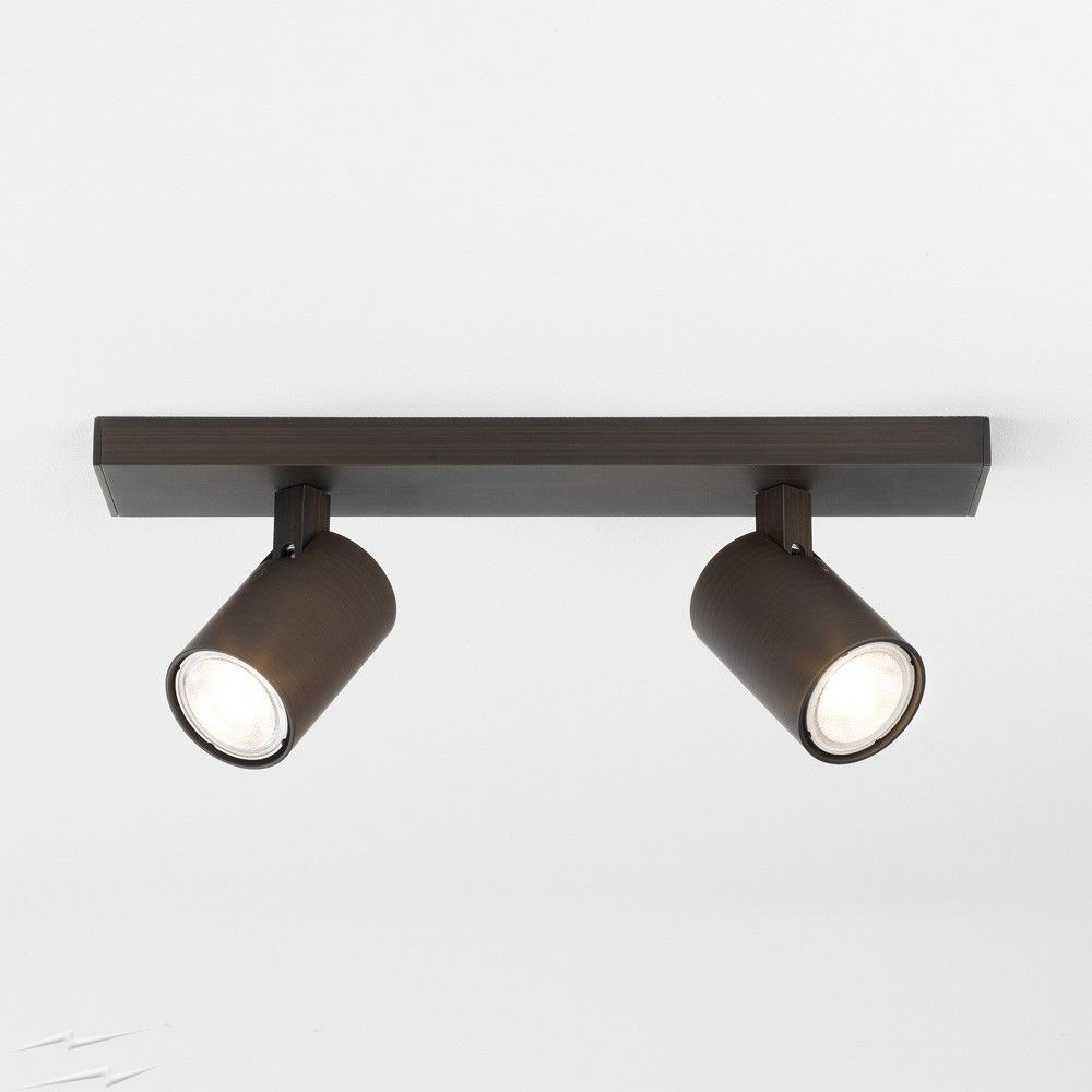 Ascoli Twin Ceiling Spot Bar In Bronze Effect Ip20 Adjustable Spots Using 2 X Gu10 Lamps Max 50w Track Lighting Juno Track Lighting Lamp Decor
