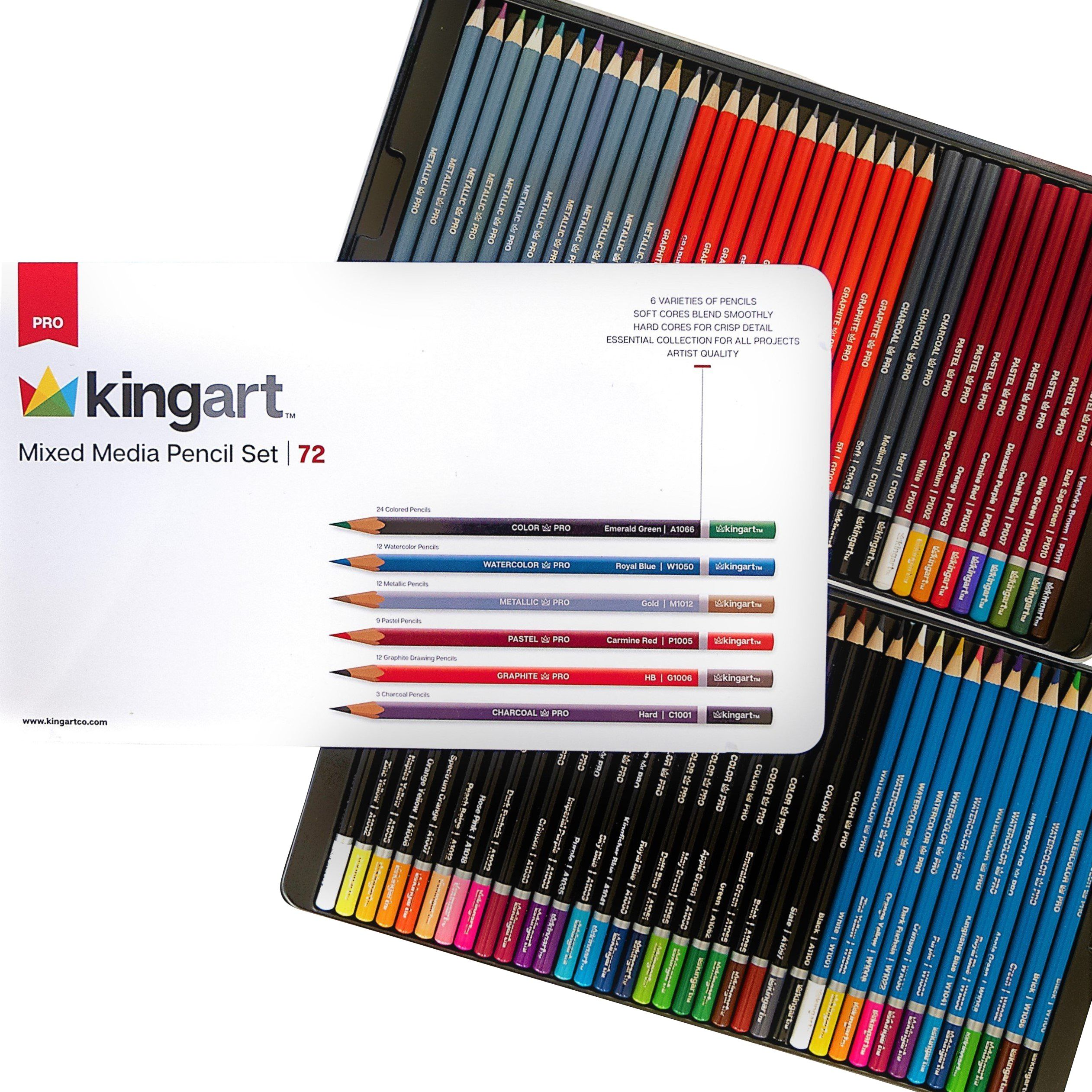 Kingart Pro Ultimate Collection Of Pencils Tin Case Set Of 72