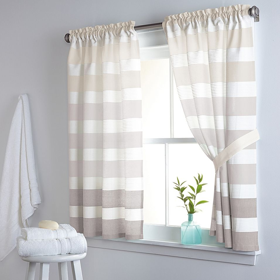 Dkny Highline Stripe 38 X 45 Cotton Window Curtain Panel Pair In