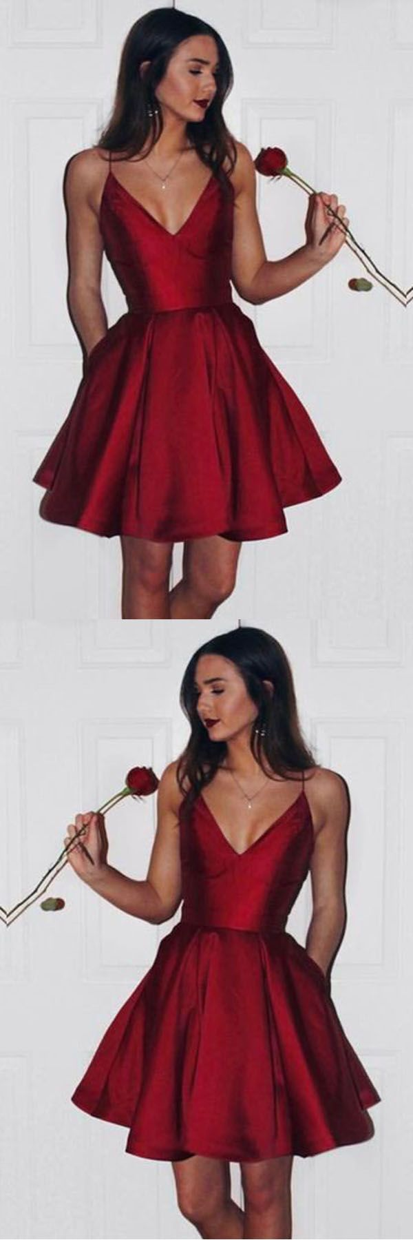 Burgundy cute simple spaghetti straps homecoming dress party dress