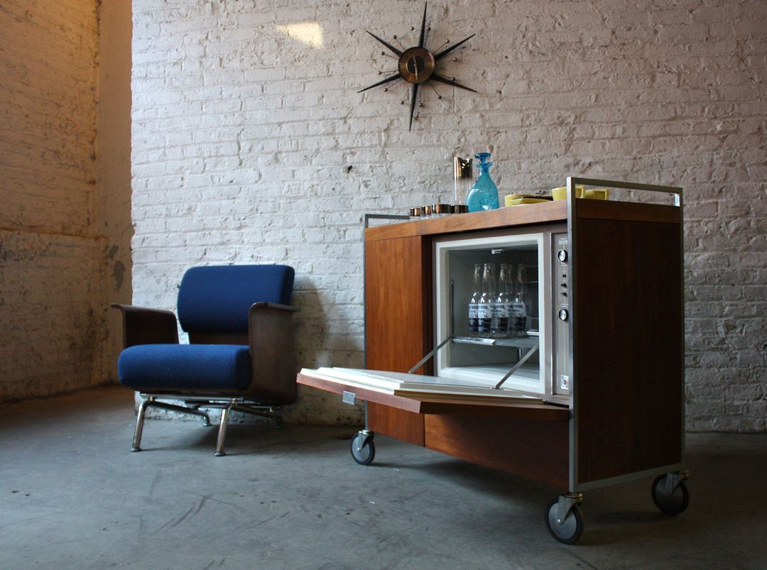Bar cart with its own built-in refrigerator - Designed by George Nelson & Associates, 1960