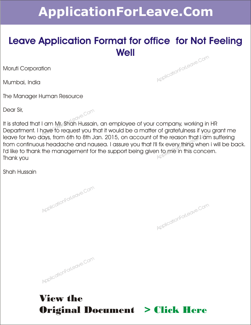 Leave Application Format For Office Not Feeling Well Sample Letter