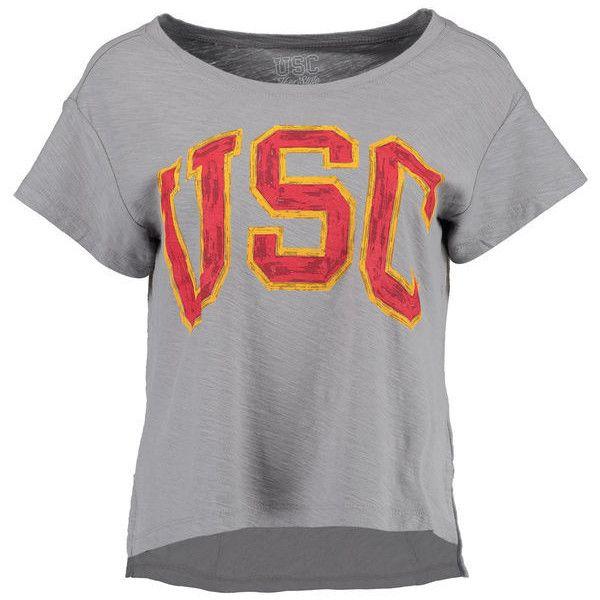 Women's Gray USC Trojans Lindley Slub T-Shirt ($30) ❤ liked on Polyvore featuring tops, t-shirts, grey, grey top, grey tee, gray top, grey t shirt and gray tee