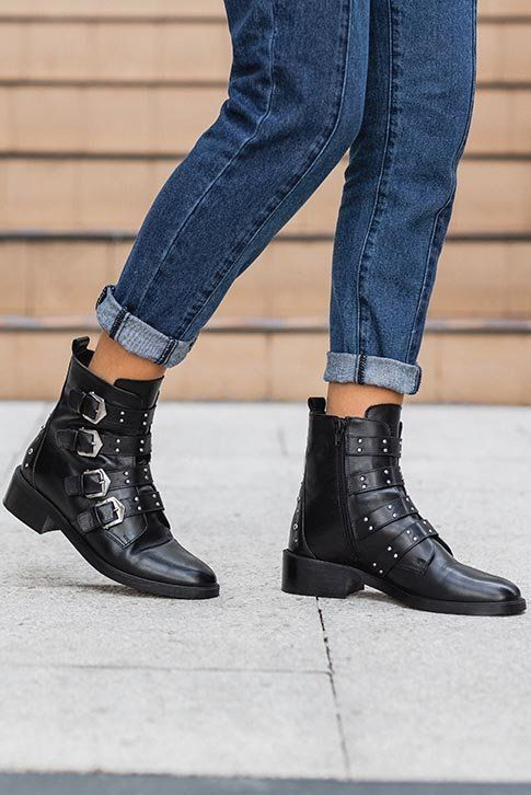 Black Flat Ankle Boots Buckle up for