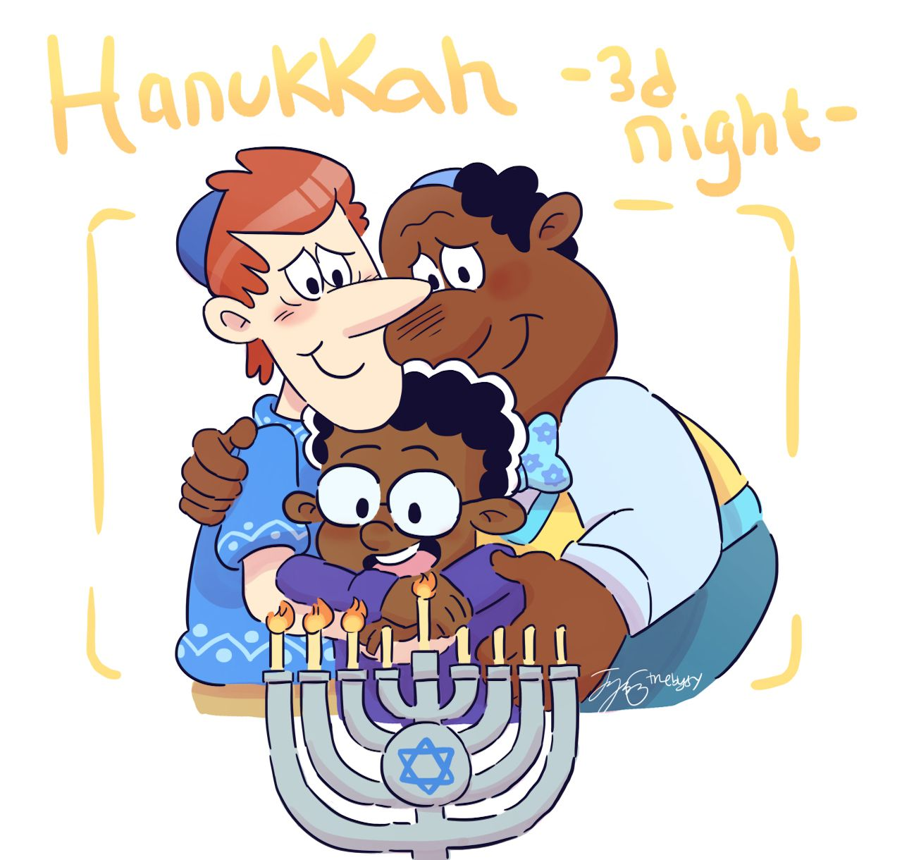 The Loud House: Harold McBride with Howard and Clyde, celebrating Hanukkah.  #theloudhouse #howardmcbride #haroldmcbride #clydemcbride