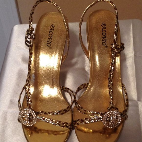 66a7dc51d4f6 Palovio Gold sling back sandals Never worn !! Very pretty gold and bronze  braided sandal. Rhinestone bling that really makes this shoe sparkle. 3  inch heel.