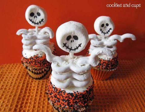 Skeleton Cupcakes Party treats and Halloween foods - cute halloween treat ideas