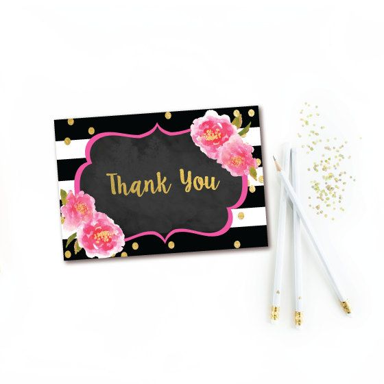 Printable Folded Thank You Cards Chalkboard Black White Stripe Thank You Note Floral Baby Shower Thank You Cards Thank You Cards Kate Spade Bridal Shower