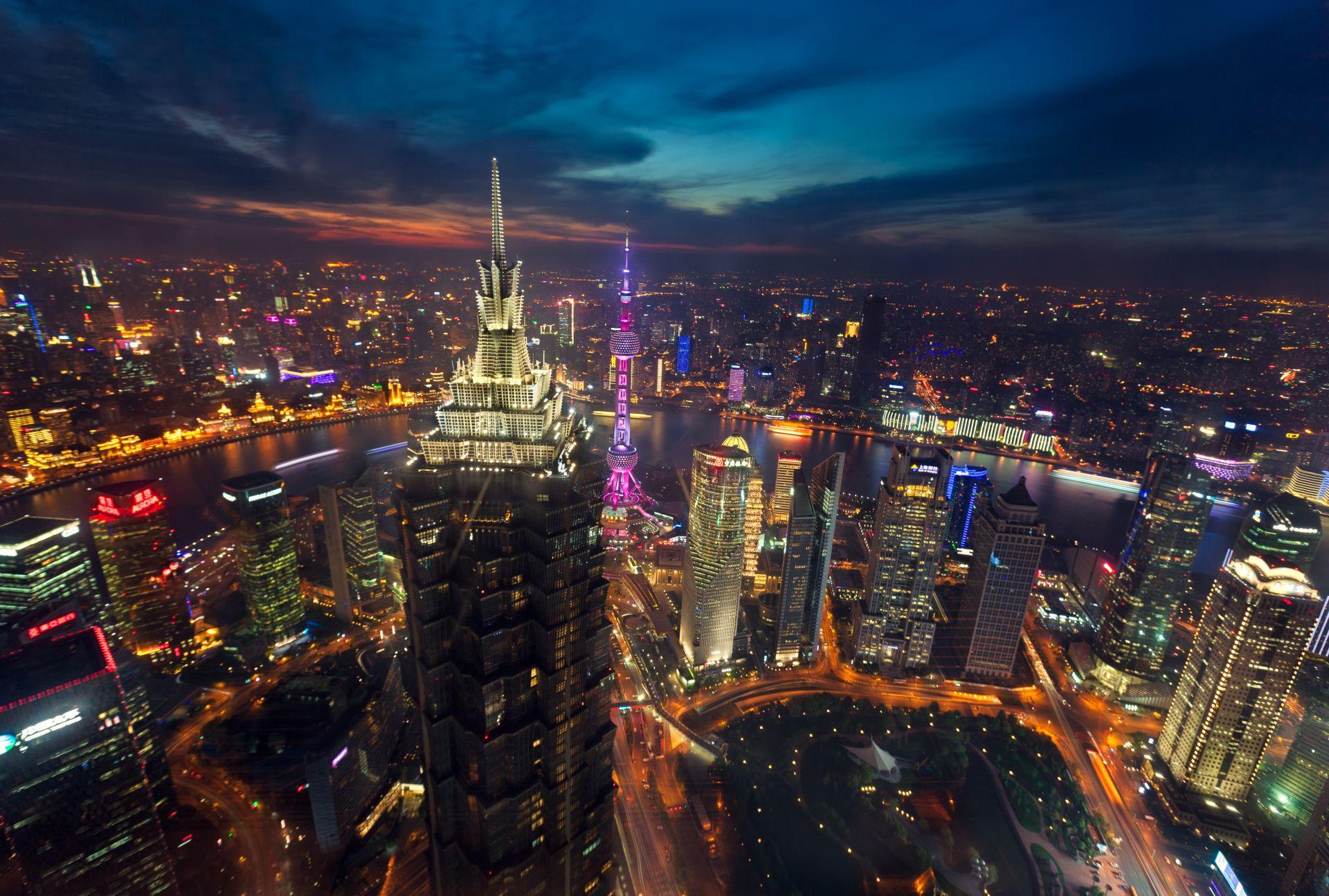 Man Made Shanghai Sky Architecture China Aerial Night Wallpaper