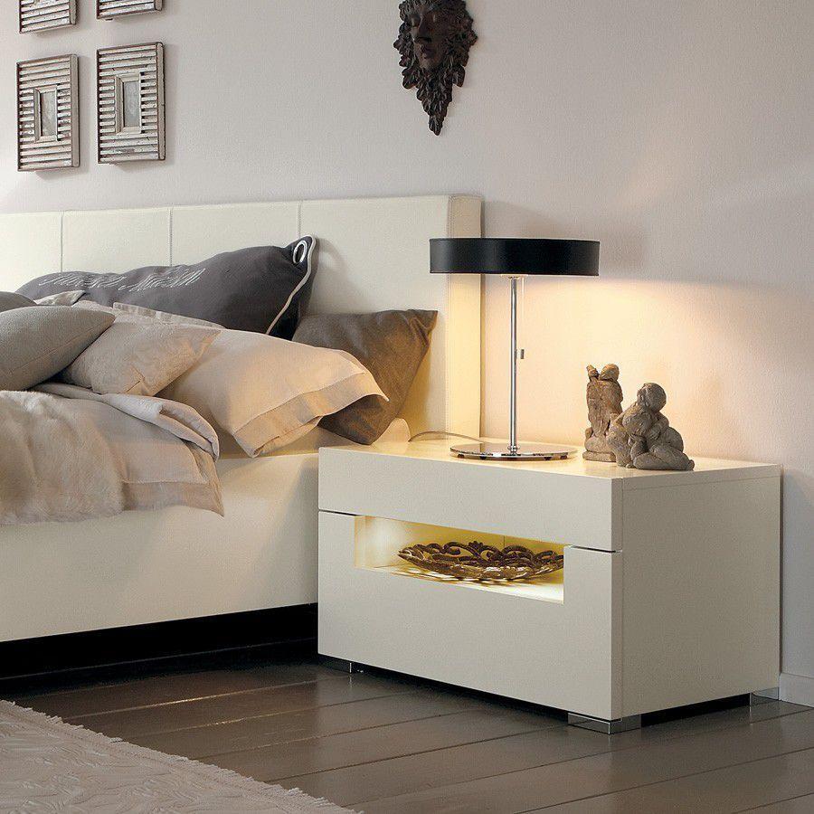 Mesa De Noche Moderna De Nogal De Madera Lacada Elumo Ii  # Comprar Muebles Hulsta