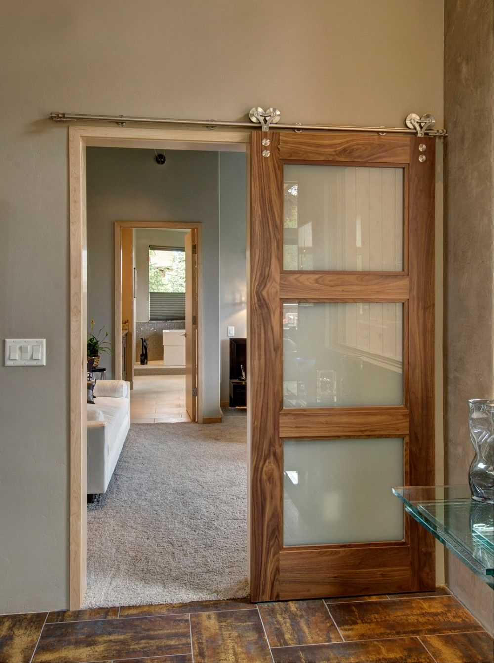 Morden Type Internal 3 Panel Glass Sliding Door Price Glass Barn Doors Wood Doors Interior Interior Sliding Barn Doors