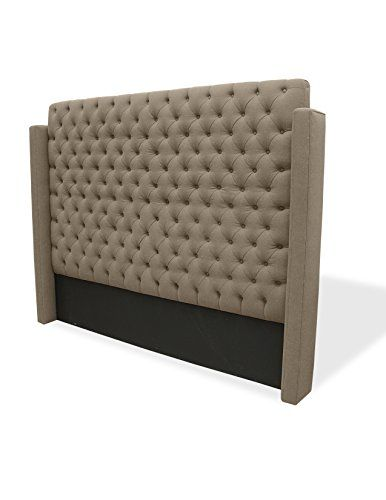 South Cone Home Gabriel Wing Tufted Linen Headboard, King, Brown ...