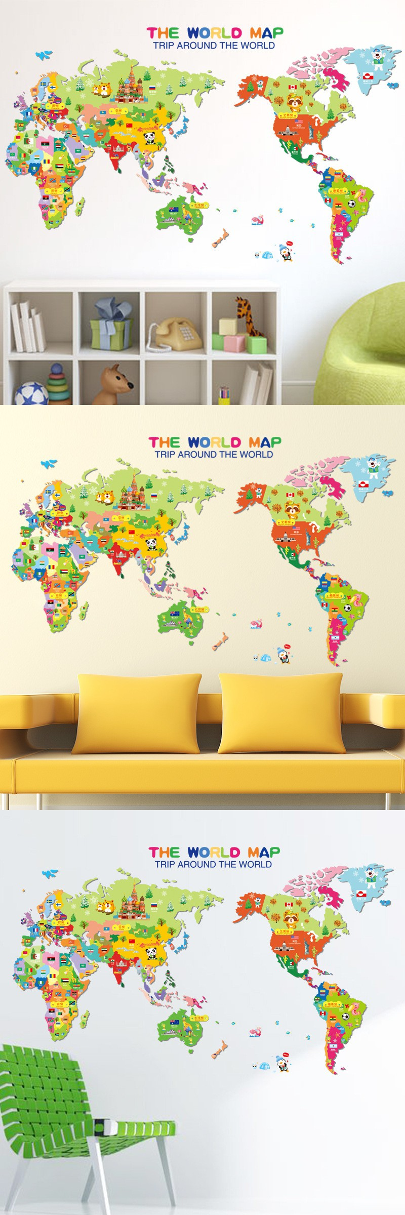 New creative cartoon world map wall sticker diy home decoration ...