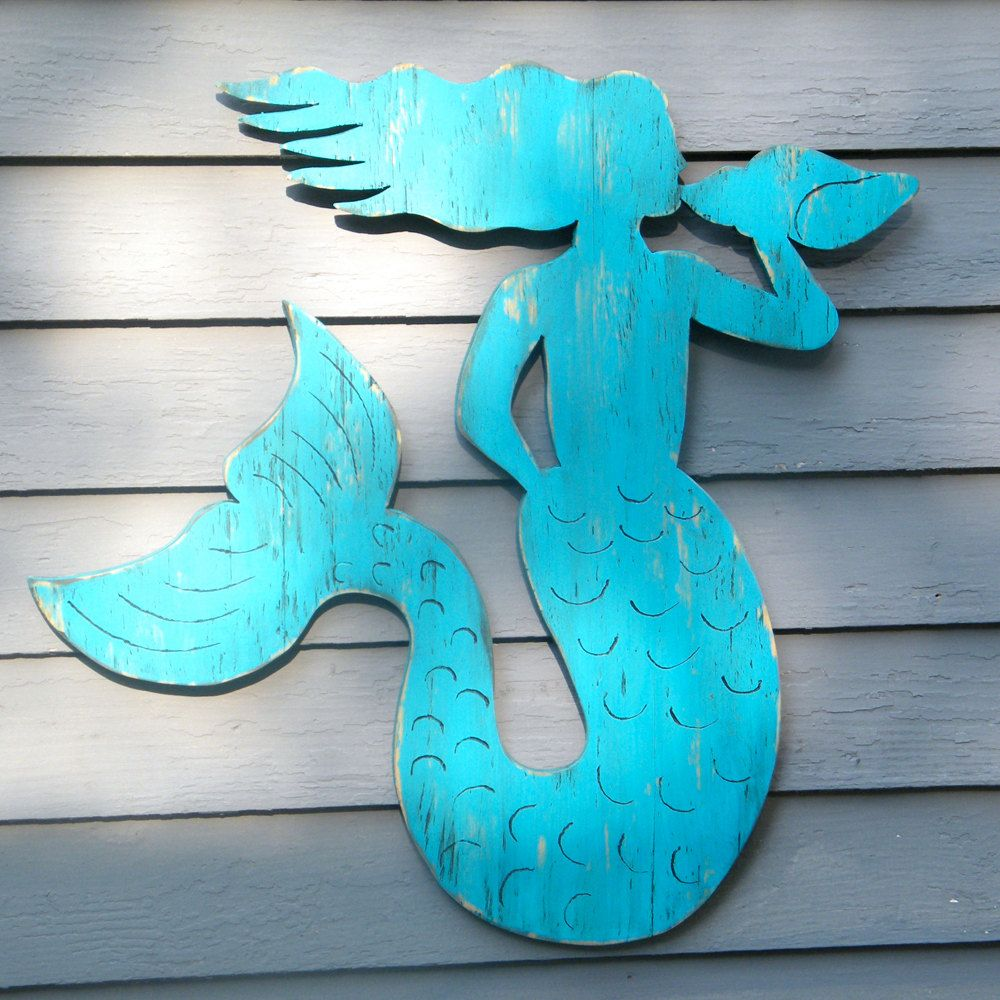 Wooden Mermaid Wall Art mermaid wooden coastal decor sitting mermaid conch shell beach