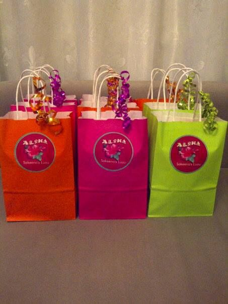 Gift bags for a #luau themed kids party