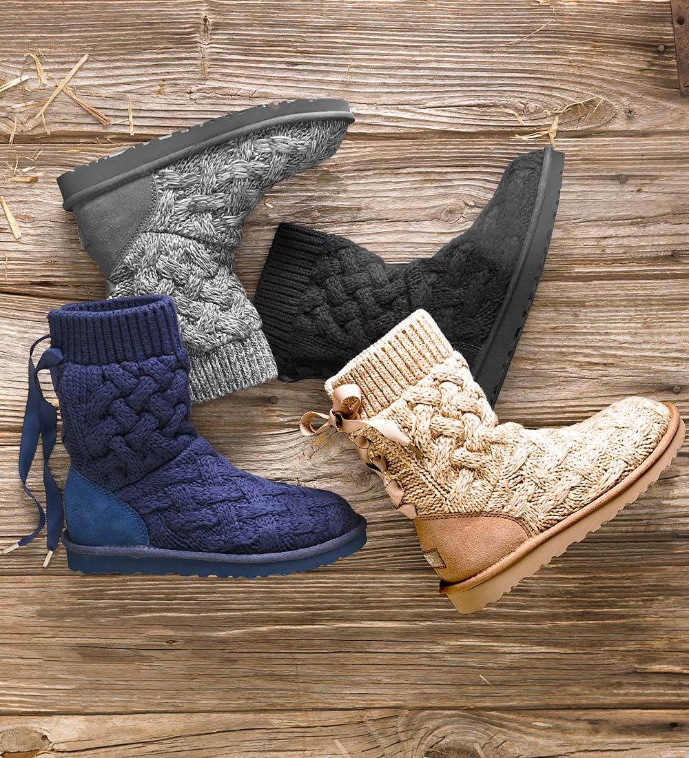 Get cozy in UGG® Australia's Isla Boots, part of the Classic Knit Collection. They feel like you're slipping on a favorite sweater with the 100%-cotton cable-knit upper. Isla features a functional grosgrain lace along the back shaft and a soft textile lining for total comfort.