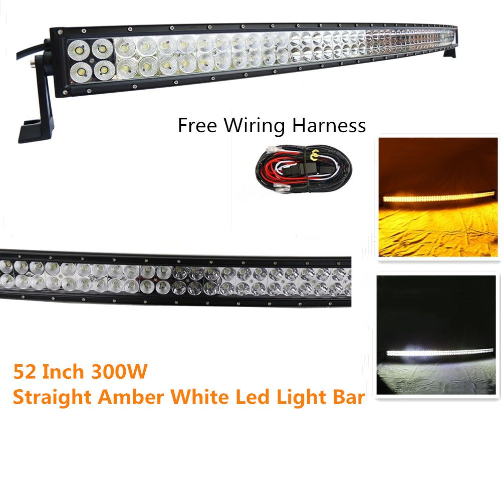 straight 52 inch 300w flash amber white led spot flood combo work lights bar fog driving with free wiring harness for 4wd off road truck suv ute atv 4x4  [ 1000 x 1000 Pixel ]