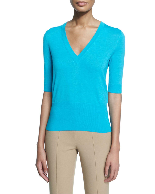 Half-Sleeve V-Neck Top, Aqua (Blue), Women's, Size: SMALL - Michael Kors