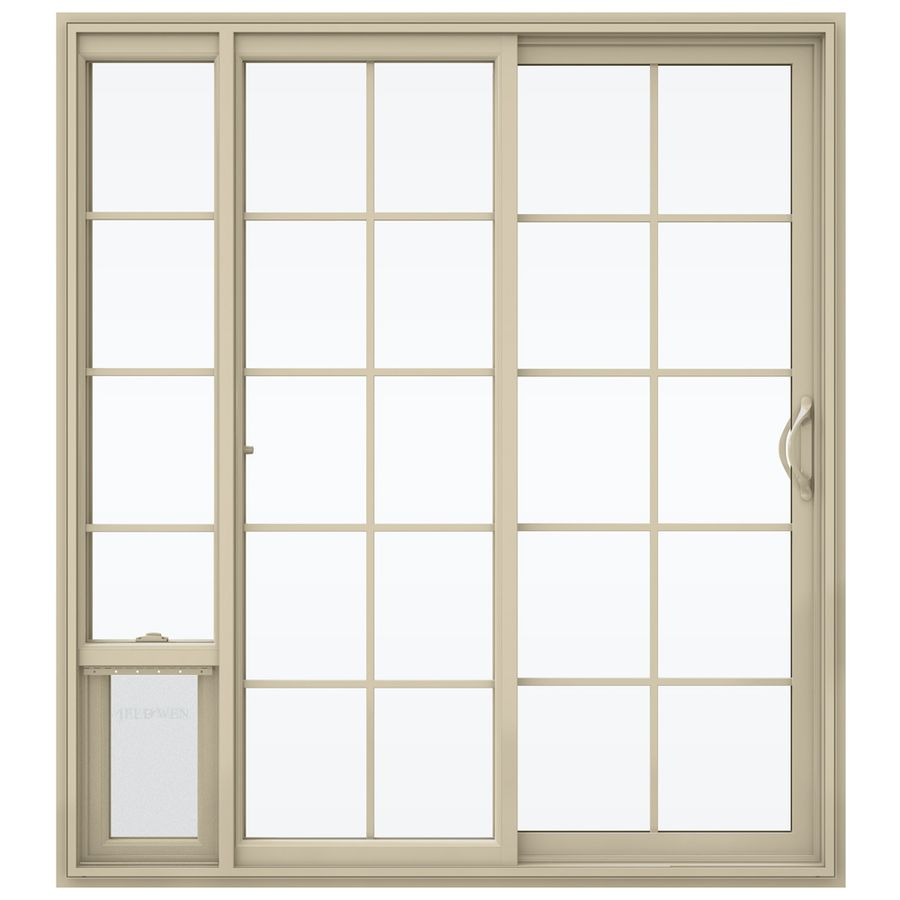 jeld wen v 2500 71 5 in 15 lite glass almond vinyl sliding patio