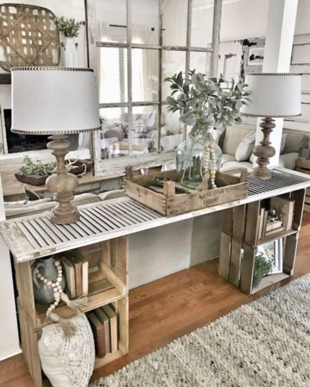 Nspiration Meuble Fait Maison Pour Maison Broc Tres Tres Chic Via Diy Console Table Easy Home Decor Farm House Living Room