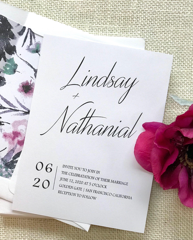 black and white wedding invitation NINA DEPOSIT fuschia wedding invite set Modern Wedding Invitations