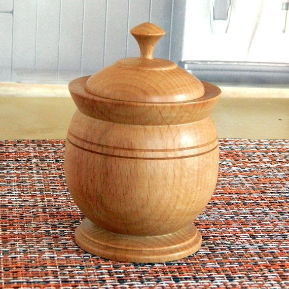 Wooden spices box or salt box Kitchen container for bulk products Country style decor of the dining table Eco natural wooden tableware
