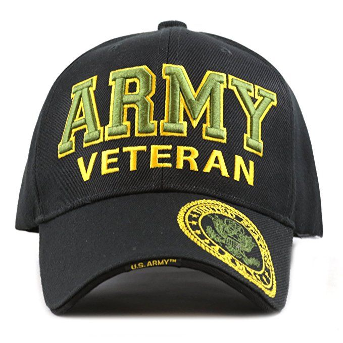 b259375c8a0 THE HAT DEPOT 1100 Official Licensed Military 3D Embroidered Army Veteran  Cap (Army-Black)