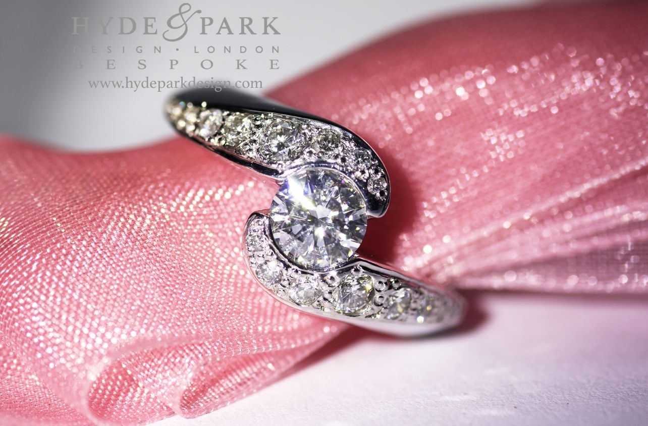 Bespoke #diamond engagement ring with an intricate asymmetric ...