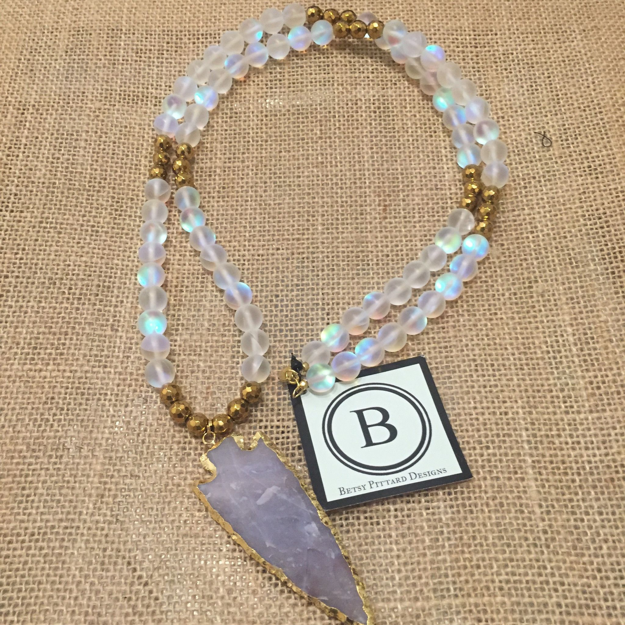 Betsy Pittard Moonstone and Gold Bead with Jasper Arrowhead Necklace