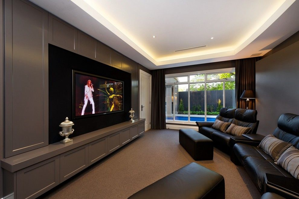 Home Theater Room Home Theater Contemporary With Metal Urn Built