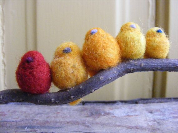 Family of Five Wool Felt Birds on a Branch Hues of by Zyloby, $45.00