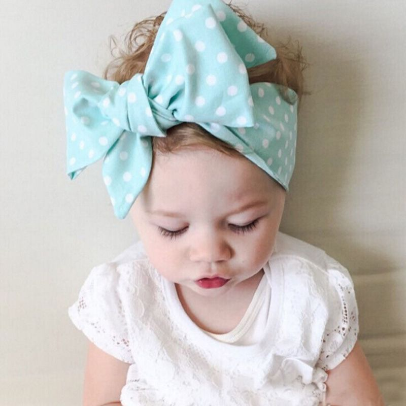 Baby Toddler Turban Solid Headband Hair Band Large Bow Accessories Headwear New