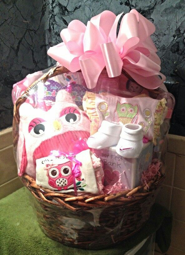 Owl themed baby basket for a baby girl gift baskets pinterest owl themed baby basket for a baby girl negle Image collections