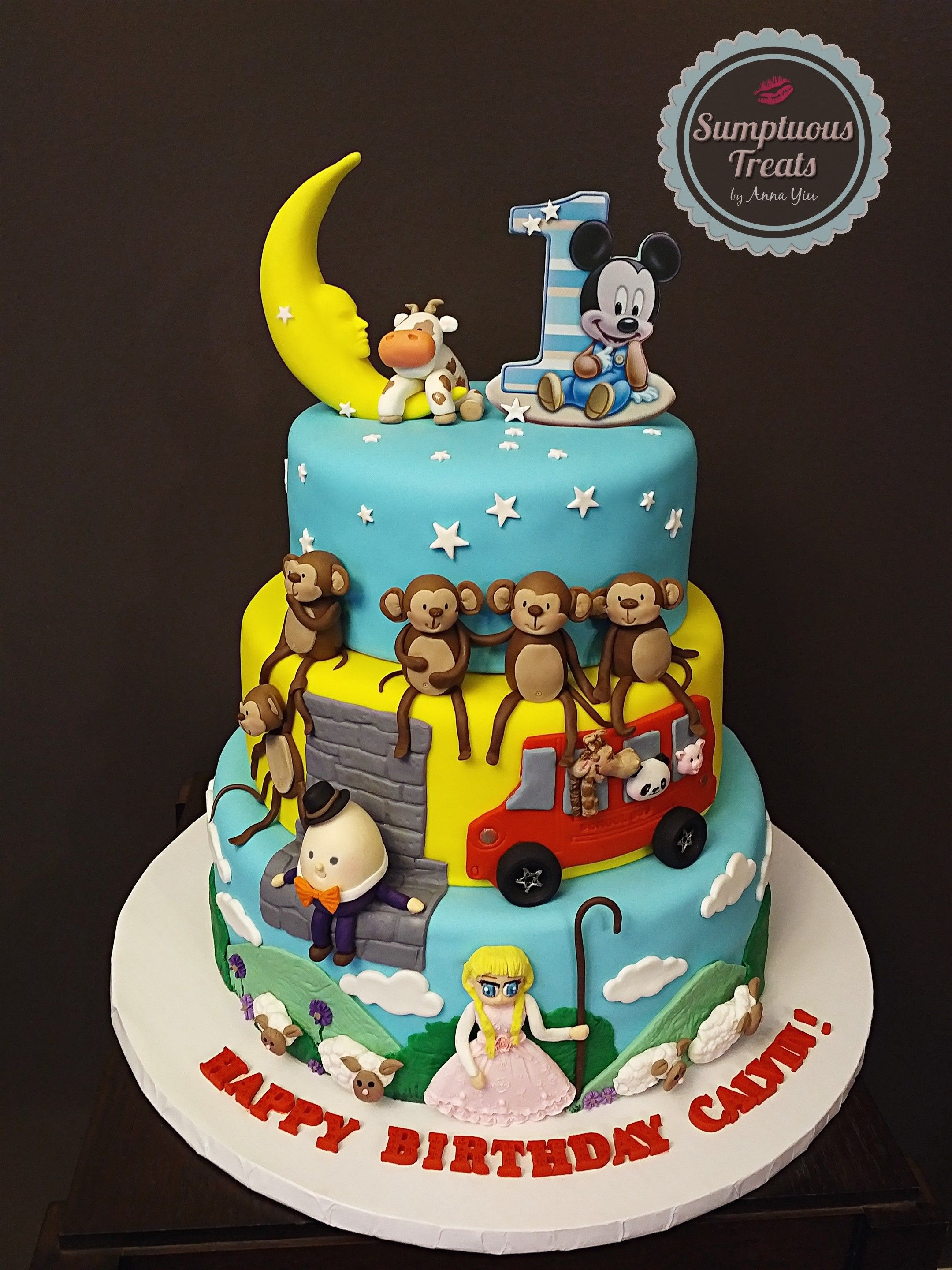 Nursery Rhymes Cake Custom Made To Order Cakes Edible Art Sumptuoustreats 5littlemonkeys Humptydumpty Littlebopeep Cowjumpedoverthemoon
