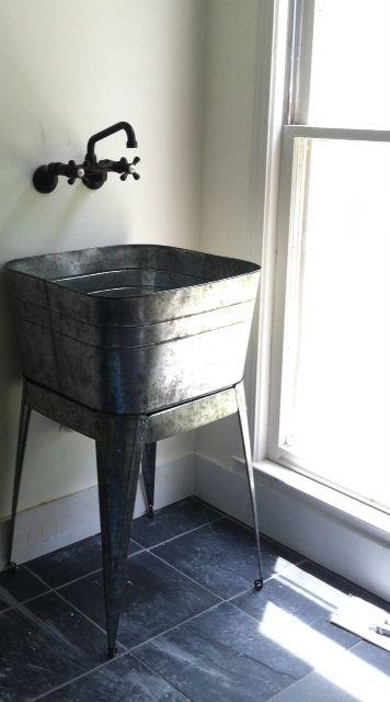 Galvanized Laundry Sinks Laundry Mud Room Farmhouse Mudroom