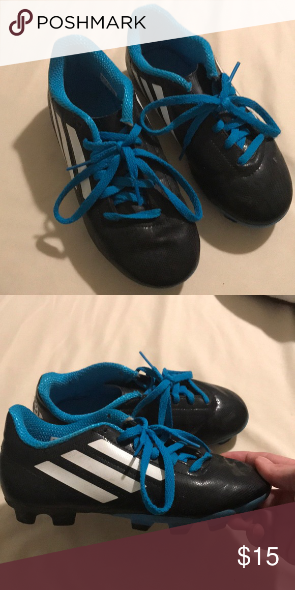 new concept b317b ee38f Adidas Soccer Cleats Black Adidas Soccer Cleats with blue shoe strings.  Gently used, worn maybe 4-5 times for 5 year old. Boys Size 1.5 adidas Shoes  ...