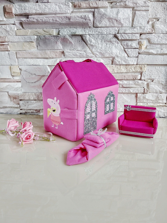 Fabric Portable toys, Dollhouse miniature Room, Travel dollhouse, House play set, Peppa pig girls handbag #miniaturerooms