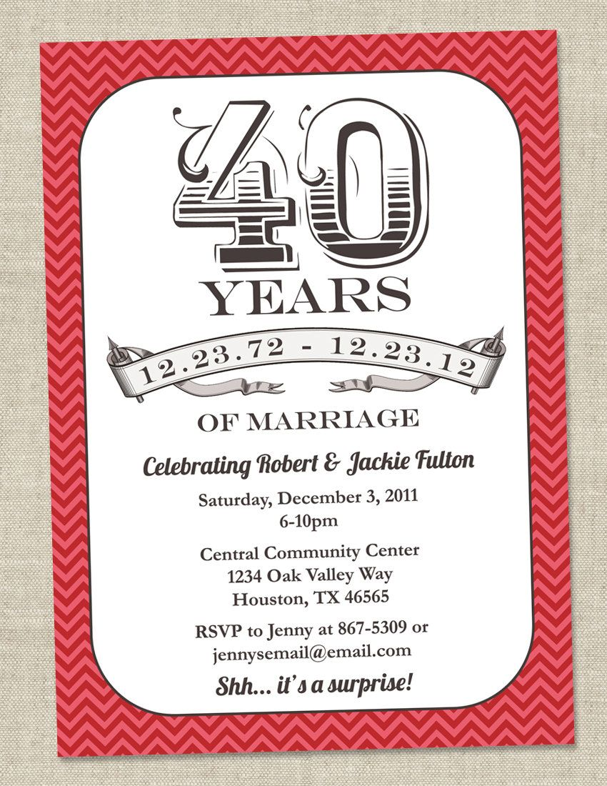 40th Anniversary Invitation - Ruby Red Vintage Anniversary Party ...