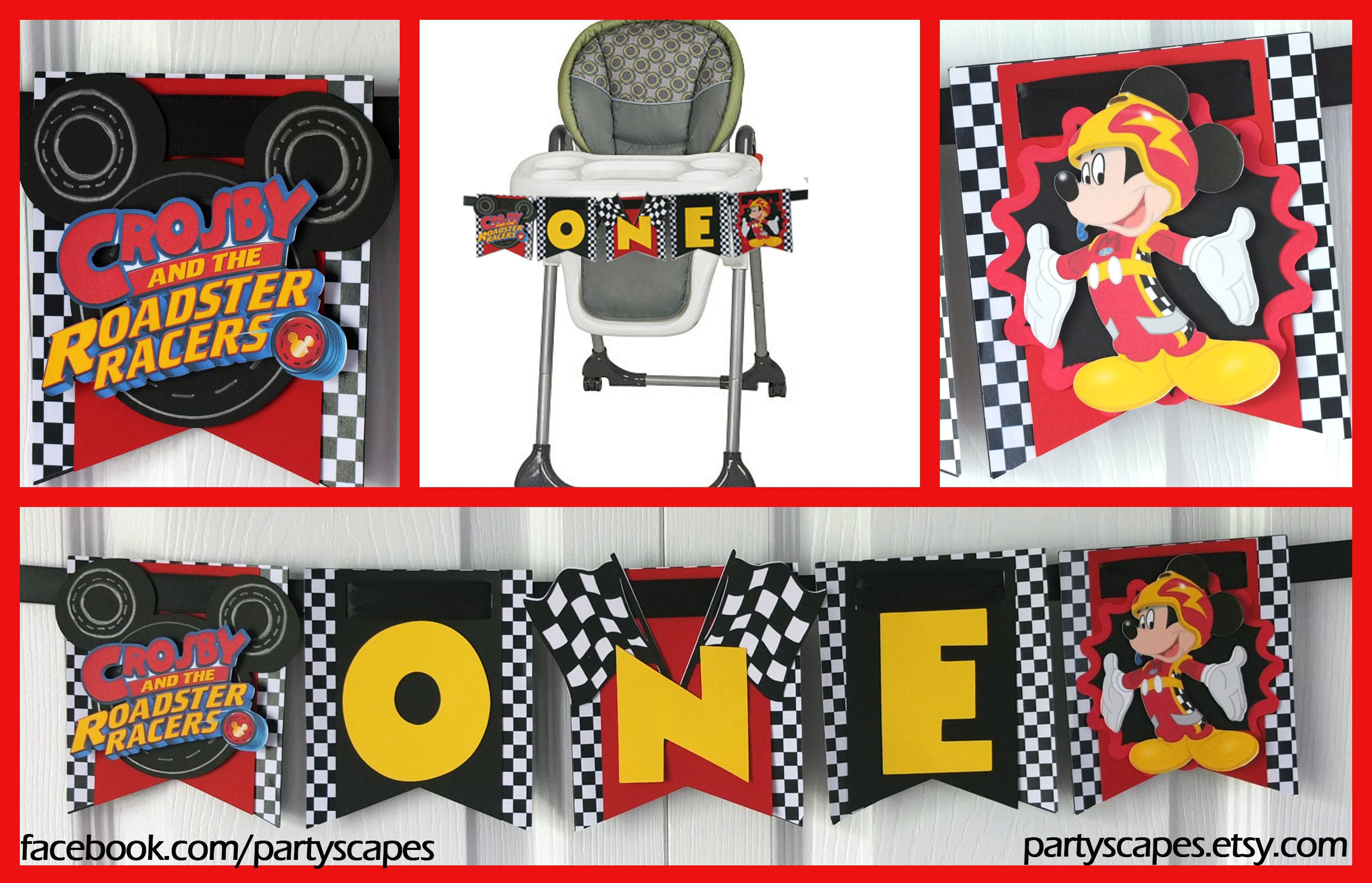Mickey And The Roadster Racers Birthday High Chair Banner Mickey