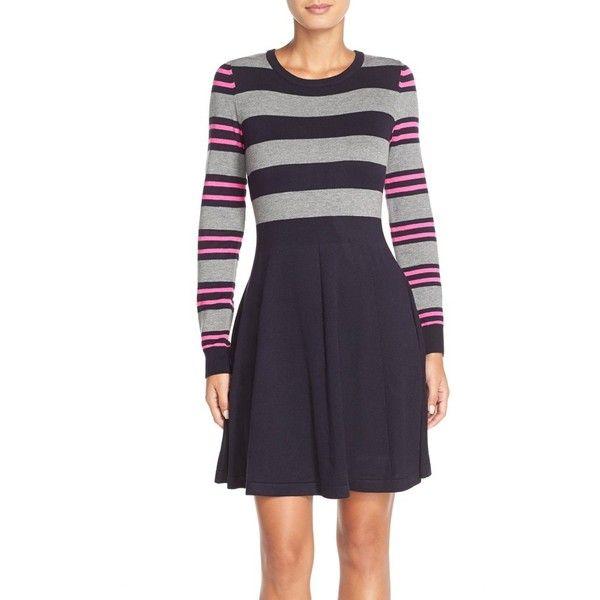 Eliza J Stripe Sweater Fit & Flare Dress ($59) ❤ liked on Polyvore featuring dresses, petite, longsleeve dress, long sleeve striped dress, eliza j dresses, stripe sweater dress and striped sweater dress