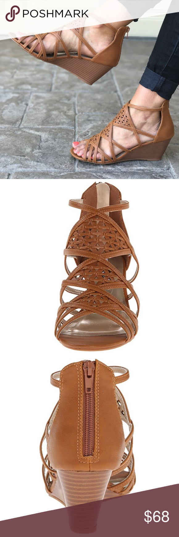 003bceb9ac Caged Perforated Small Wedge Sandal A geometric weave gives lithe straps wedge  sandal, which features