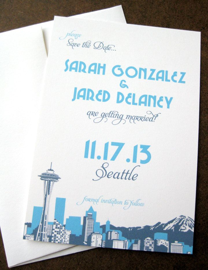Seattle Skyline Save the Date Card - CUSTOM COLOR SAMPLE $125, via - Sample Cards