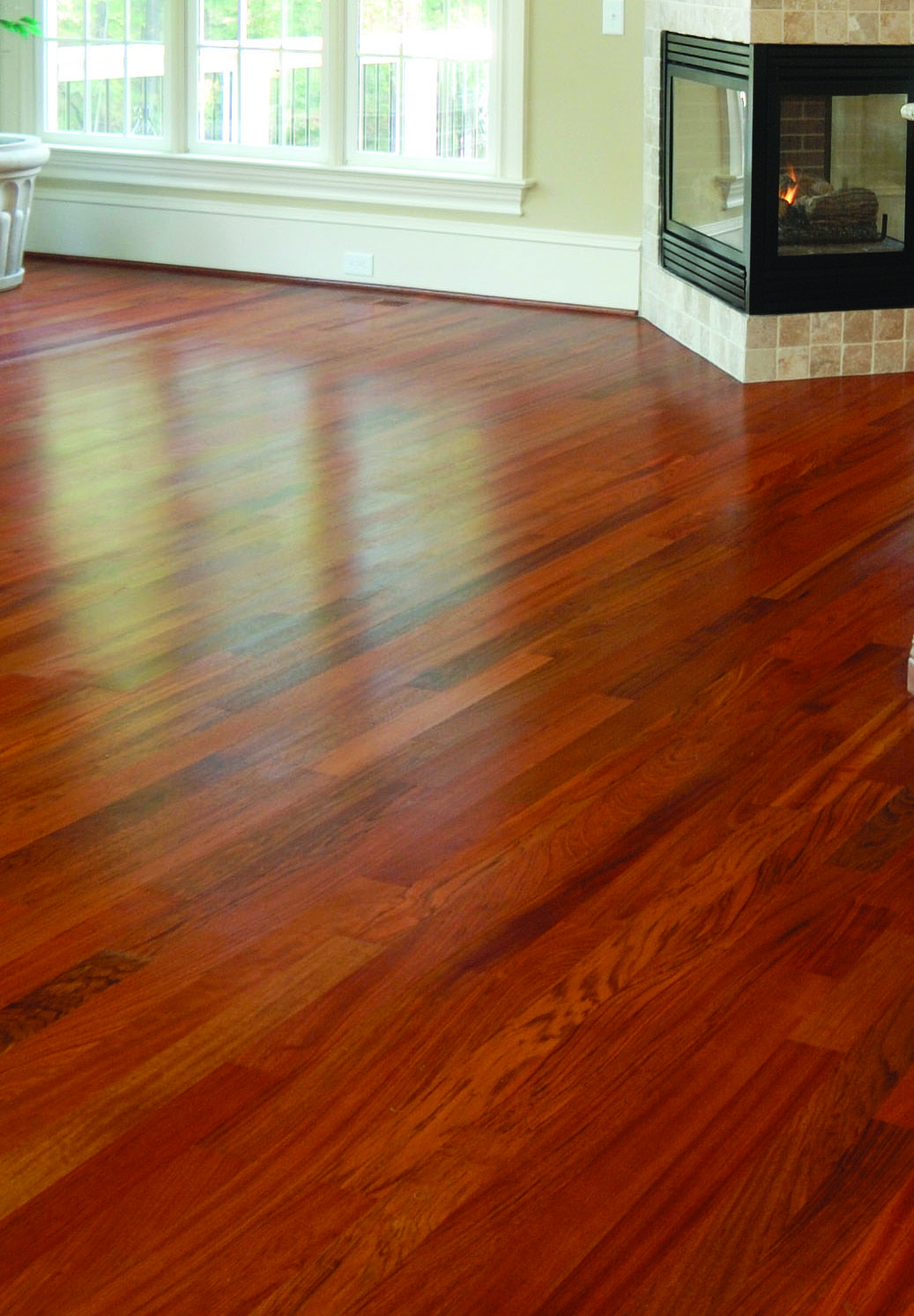 Brazilian cherry engineered hardwood flooring will fill your home