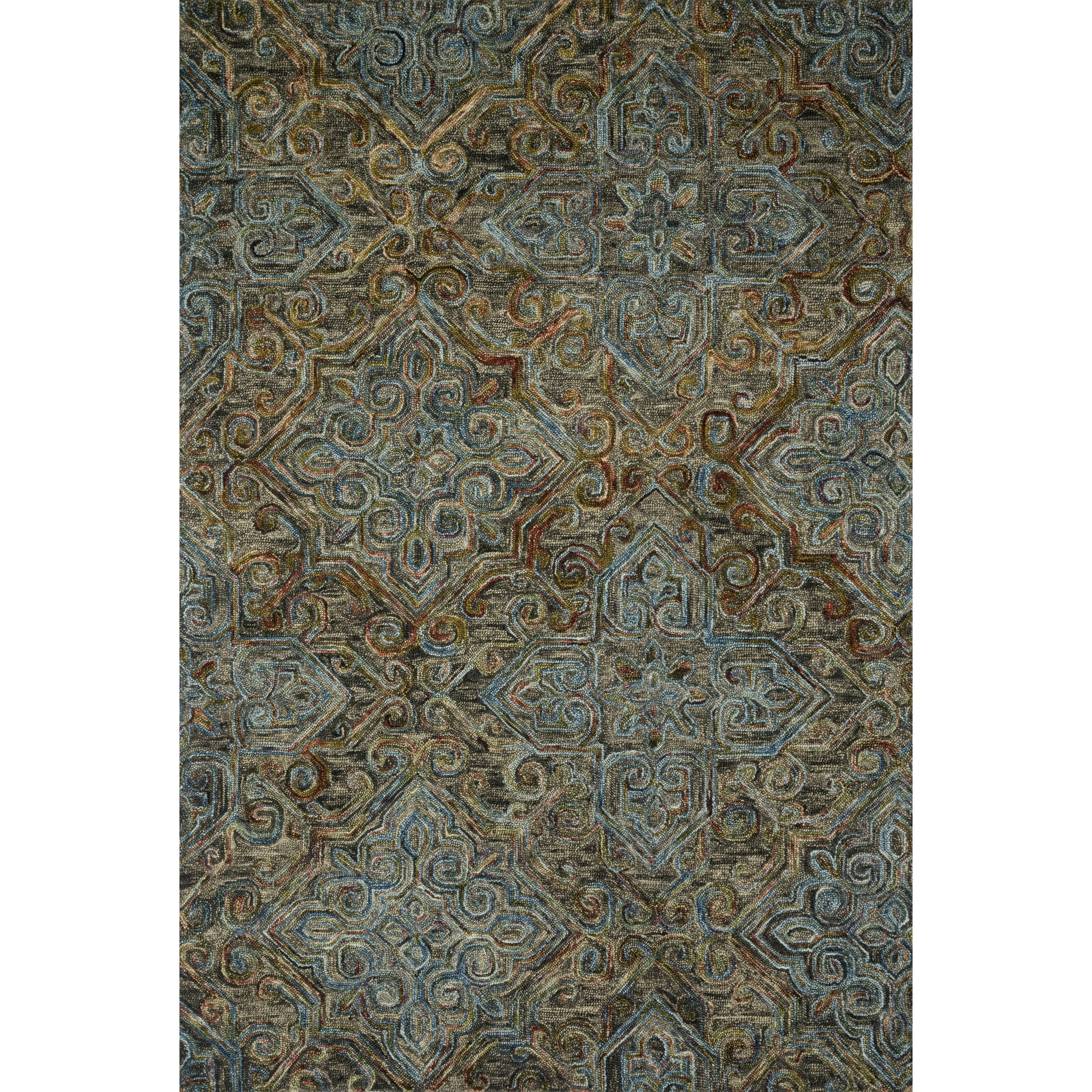 Hand Hooked Wool Dark Grey Multi Traditional Damask Area Rug 7