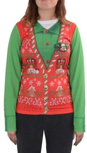 Women\u0027s Faux Real Ugly Christmas Long Sleeve Novelty Tee Christmas
