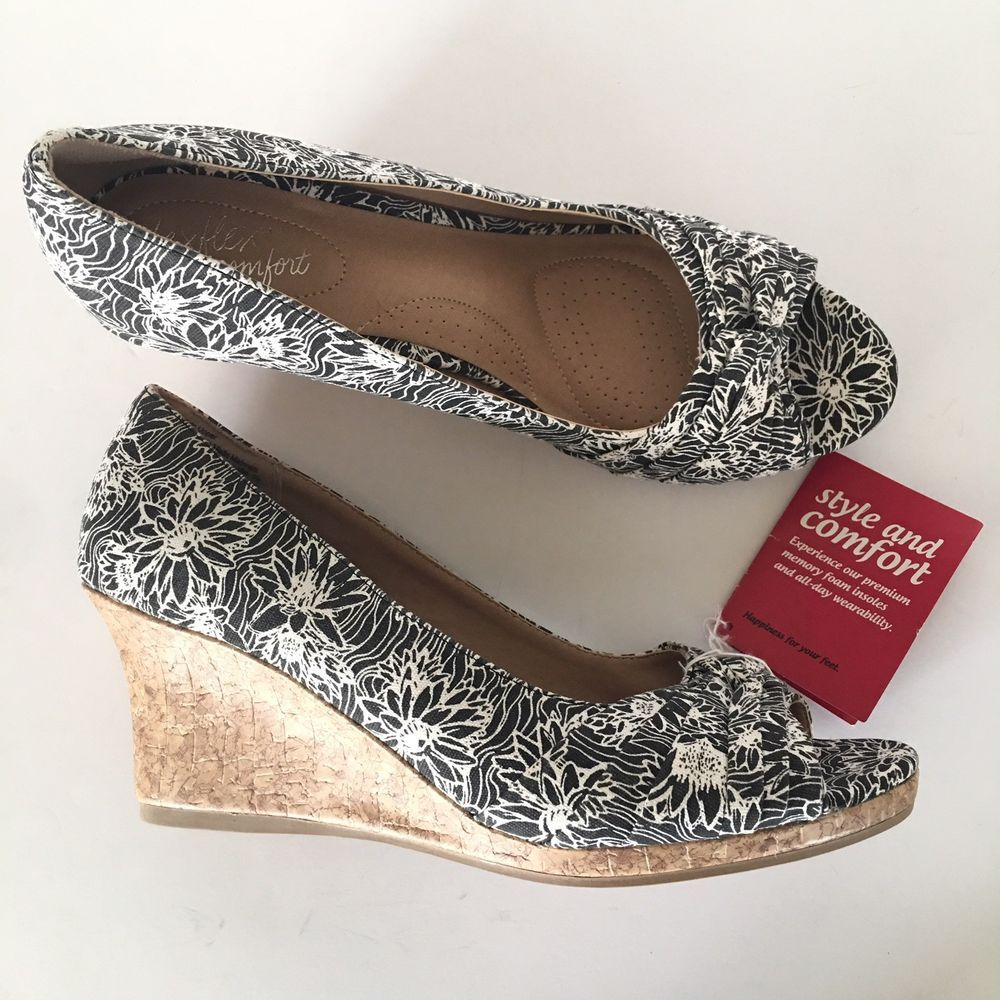 8a2ae0c280 Dexflex Comfort Karlie Wedge 9.5 Black And White Floral Print Memory Foam  #fashion #clothing #shoes #accessories #womensshoes #heels (ebay link)