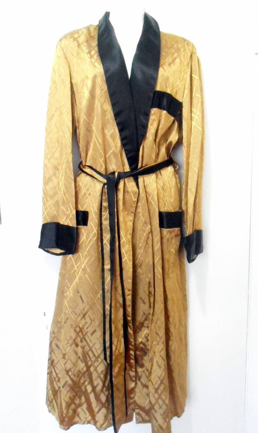 Vintage Fifties Sixties Mens Gold And Black Robe Housecoat Size