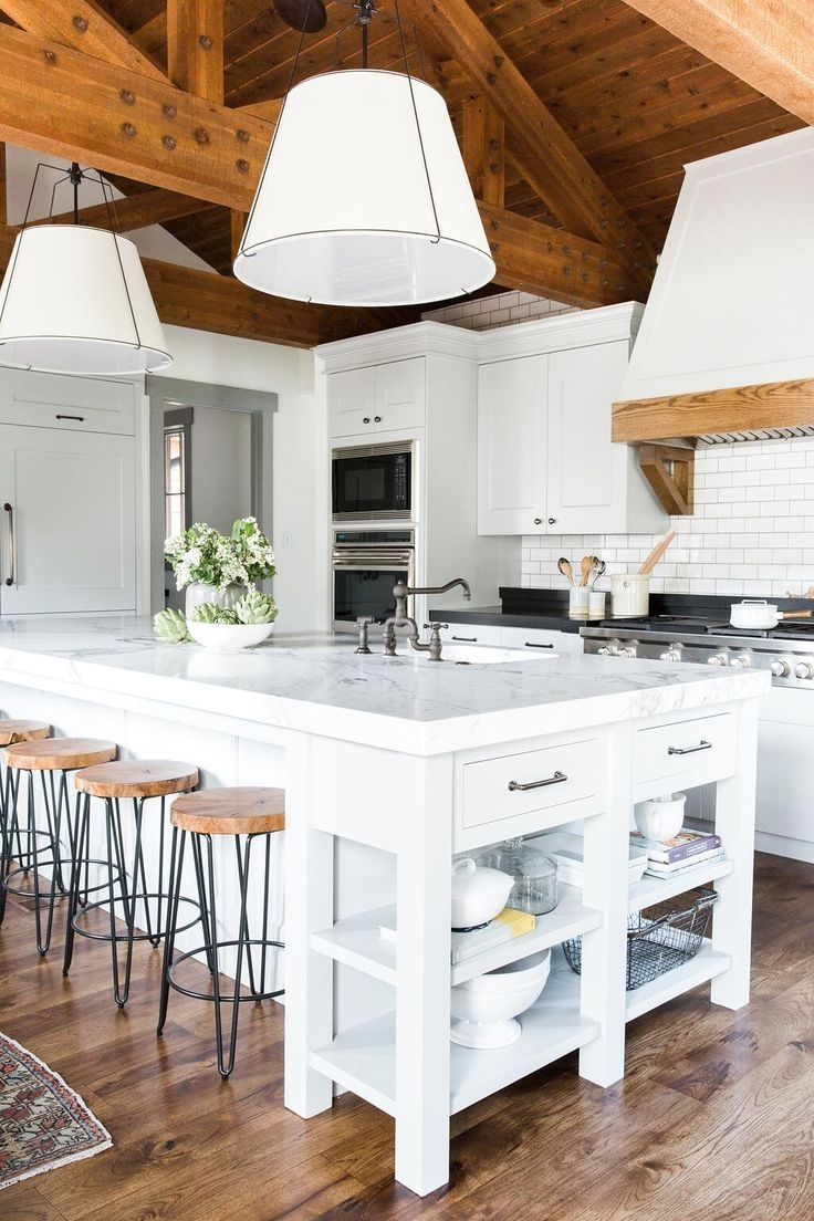 White cabinets grey subway tile and pics of white washed wood look
