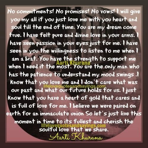 I Will Love You Till The End My Dream Came True Just Love Me Quotes